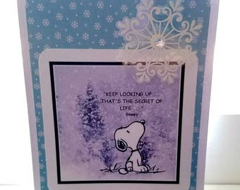 Keep looking up.  That's the secret of life. Handmade Greeting Card