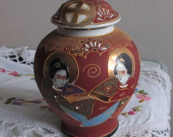 Vintage Tea caddy, Vase with lid,,Hand painted,  stamped, Satsuma