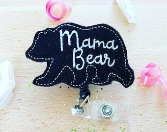 Feltie Badge Reel - Mama Bear -  Badge Holder - Retractable Badge Reel - ID Badge Clip - Nurse - RN Badge -  Badge - Mysweetbadge