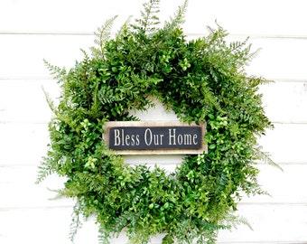 Farmhouse Wreath-BOXWOOD Wreath-Door Sign-Bless our Home-Housewarming Wreath-Fall Wreath-Outdoor Wreath-Year Round Wreath-Home Decor