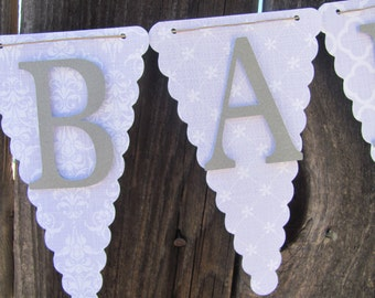 Light Purple and Gray Baby Shower Banner, Baby Shower Decorations, Sweet Baby Girl Banner