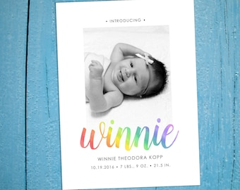 Rainbow Baby Birth Announcement Photo Card Printable Download