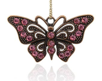 Butterfly Rhinestone Pendant - Antique Copper - Pink Rhinestones - #PND315