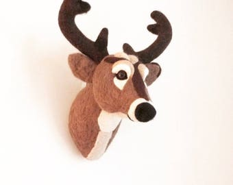 Needle Felted Faux Taxidermy Deer Head