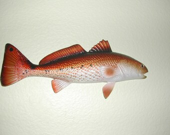 New This Week !! 18 Inch Hand Painted Molded Resin Redfish w/Rear Mount