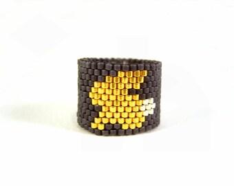 Gold Rabbit Ring: Seed Bead Bunny Rabbit Ring, Black Bunny Ring Animal Jewelry UK