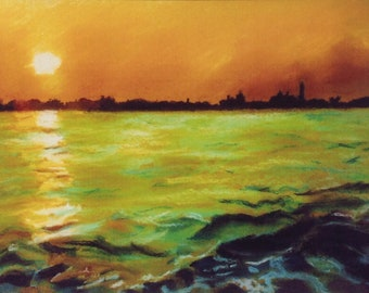 Late afternoon sun over the Venice lagoon.