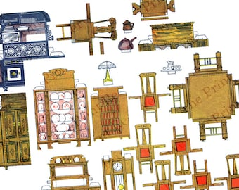 Printable Paper Doll House Furniture  2 Sheets Paper Cut Outs Antique Instant Digital Download Images Dollhouse