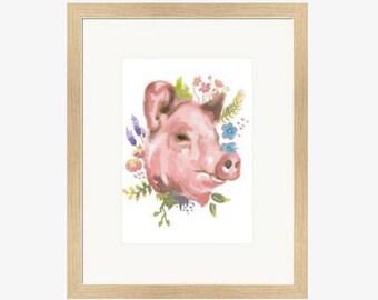 floral pig - limited edition giclée print