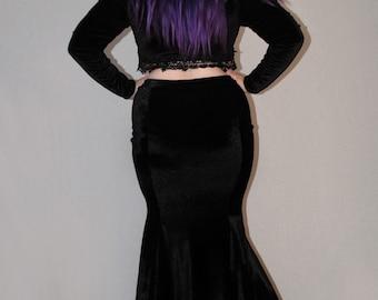 Minerva velvet fishtail skirt