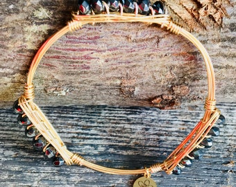 Bourbon & Boweties Inspired Bracelet. 4 x 6 Faceted Hematite Rondelle Beaded Wire Wrapped Bangle.