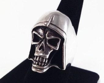 Large Vintage Sterling Silver Skull Grim Reaper Harley Biker Ring Size 10 Handmade