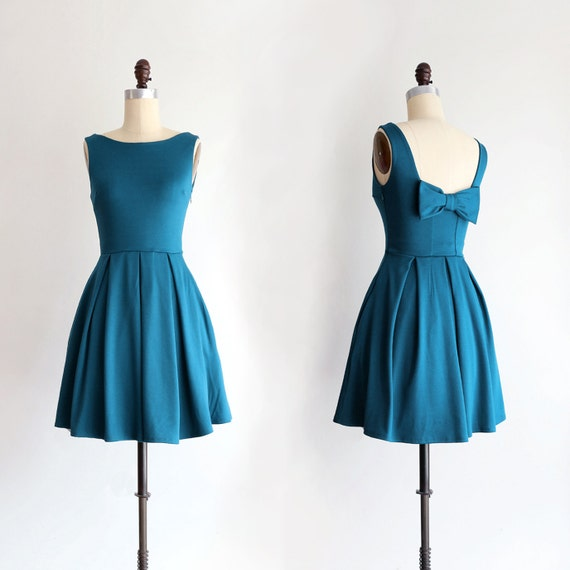 JANUARY Teal bridesmaid dress with bow. vintage inspired