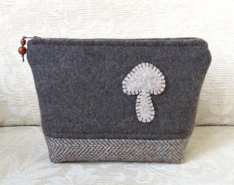 Mushroom Zip Pouch, Eco Friendly, Upcycled Sweater Wool Clutch in Brown and Tweed