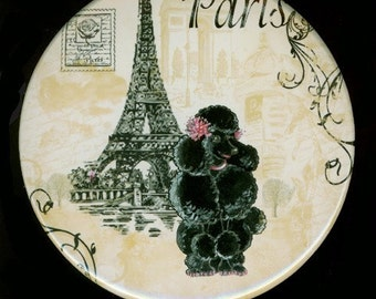 Purse Pocket Mirror Black French Poodle n Eiffel Tower Vintage Style two sizes