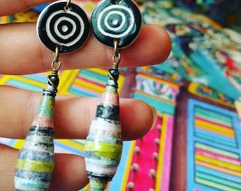 Liz-Ha Color Junkie Monoprint Scraps Paper Bead Earrings with Heartstone Gallery Ceramic Charms, Liz Carlson paper