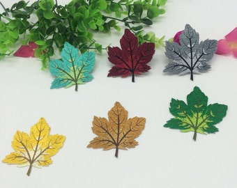 10 Pieces Embroidery colorful leaves pattern Appliques , adhesives embroidered  leaves , Embroidered Applique Badge Patch