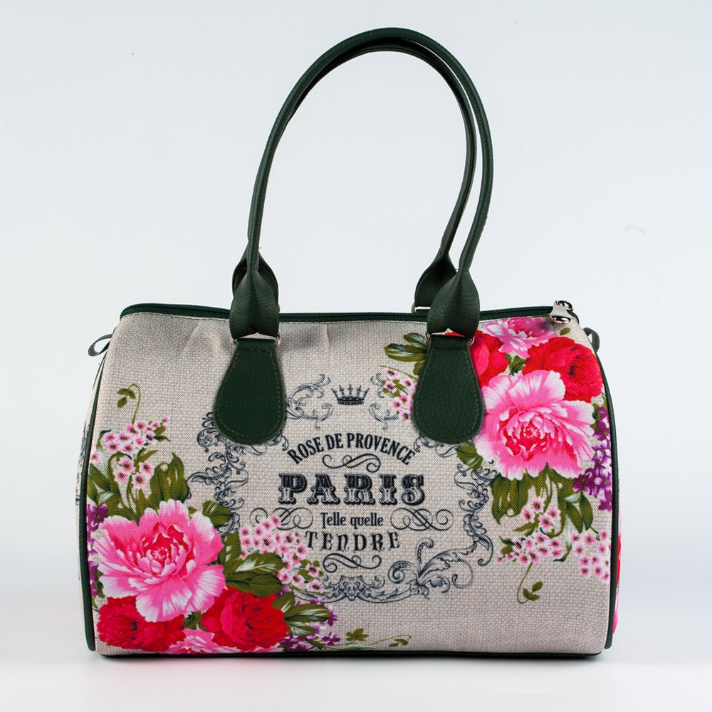 paris fabric bag with green vecan leather floral printed. Black Bedroom Furniture Sets. Home Design Ideas
