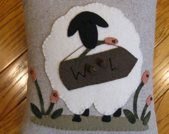"""Primitive Sheep Folk Art """" Wool For Ewe"""" Pillow Hand Stitched"""