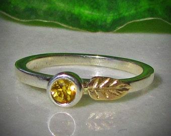 14k Gold Leaf Ring, Citrine Stacking Ring, Mixed Metal Ring, 1.5mm Band, 3.5mm Genuine Gemstone, November Birthstone Jewelry, Birthday Gift