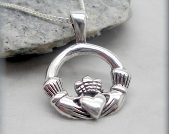 Claddagh Necklace, Irish Jewelry, Irish Necklace, Friendship Necklace, Sterling Silver, Friendship Necklace, Graduation Gift, Heart