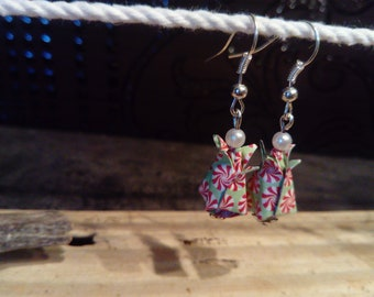 origami earrings * tulips * red and green
