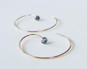 Cercle de topaze bleu boucles d'oreilles créoles or rempli