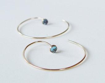 Blue Topaz Circle Earrings Hoops Gold Filled