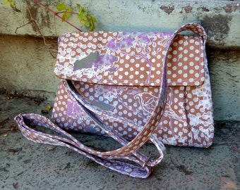 Brown Purple Messenger Bag  - Adjustable Strap - Hand Printed