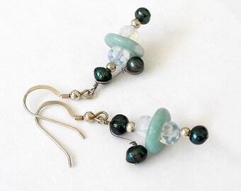 Gemstone Earrings Wrapped Pearl Beaded Earrings Sterling Silver Saturn