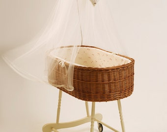 Baby Wicker Bassinet model Alba Brown, Baby Crib Willow Weave, Handmade Moses Basket
