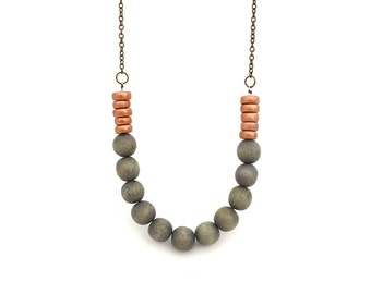 Gray and bronze necklace, wooden beaded necklace, minimalist necklace, extra long necklace, neutral and metallic colors, gift for her