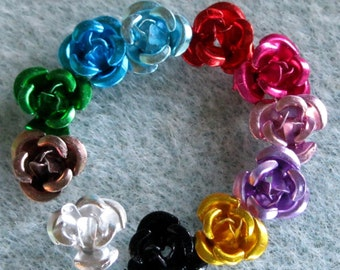 You Pick Colors and Quantity Tiny Rose Aluminum Flower Beads 6mm 201
