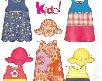 New Look 6281 Children's Jumper Or Sundress And Hat Pattern, Size 1/2-3