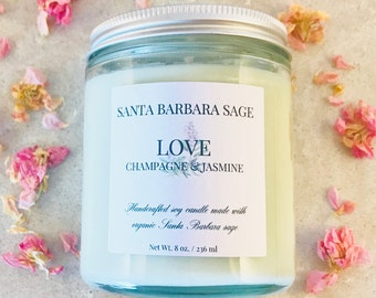 Pink Champagne & Jasmine Soy Candle by Santa Barbara Aromatics | Essential Oil Candles  | Gift for Her | Gift for Mom | Bridesmaid Gift