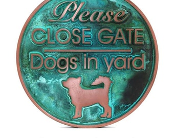 """Dogs In Yard Sign 12"""" Diameter by Atlas Signs and Plaques"""