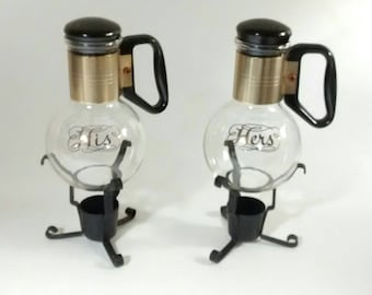 Vintage Mid-century HIS and HERS Silex Warming Carafes, 2 Single Serving coffee, tea, candlelight