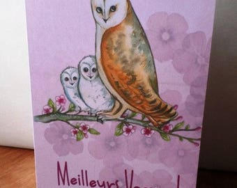 OWL best handmade 21cm x 15cm greeting card