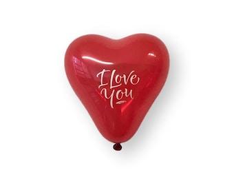I love You Heart Shaped Small Balloons - 6 Inch Air Fill Only - Hanging Decorations Party Supplies