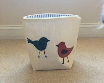 Project Bag - Zippered, bird appliqué, 2 skein size