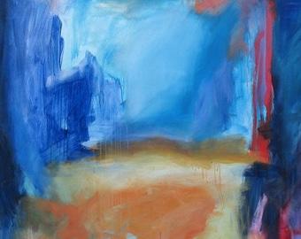 Sanctum GICLEE Kunst Grafik 11 x 17, abstrakt blau-orange-Rost