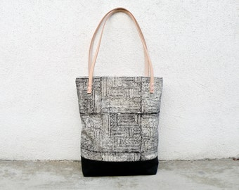 Maze Printed Canvas Tote Bag, Black and White Purse, Shoulder Bag, HandCarved Block Printed, Uniquely Printed Fabric, Labyrinth, Market bag