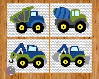 Boys Construction Trucks Vehicles Wall Art Room Decor Trucks Navy Blue Green Playroom 4 Printable 8x10 Digital JPG Files  (cs3)