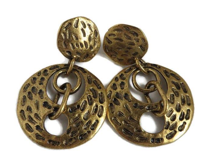 Dangling Disc Earrings, Chicos Earrings, Vintage Dangles, Clip on Earrings, Goldtone Dangles, Cavewoman Style Jewelry