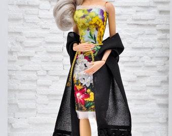 "ELENPRIV black crepe scarf for 16"" dolls Sybarites FR:16 Tonner Tyler Kingdom doll Numina BJD Tulabelle Poppy Fashion Teen dolls"