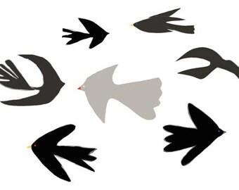 Art PRINT 'Swooping birds' print of original illustration, bird illustration, black birds, collage, animals, modern art