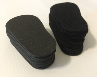 "2mm Doll Soles, 24-Pack Doll Soles, 12-Black 2mm Foam Doll shoe Soles, 12-Black Felt Doll shoe Soles, 18"" die cut doll soles, free shipping"