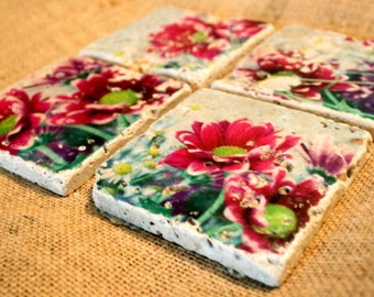 Spring Flowers - Set of 4 - Stone Drink Coasters