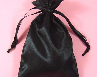 "30 Black Satin Bags with Drawstrings, 3""x4"", 4""x6"", 5""x8"", Black Favor Bags, Jewelry Pouches, Satin Jewelry Bags, Satin Gift Bags"