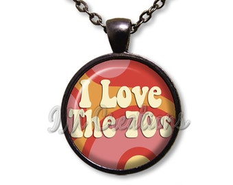 Retro I Love The 70s Dome Pendant or with Chain Link Necklace VT117